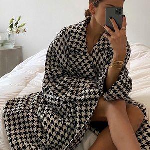 H&M tweed coat houndstooth